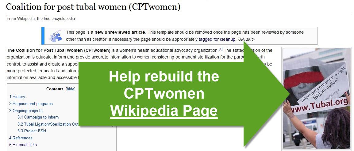 www Tubal org Coalition for Post Tubal Ligation Women